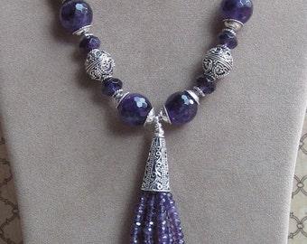 Cascading Amethyst -Amethyst Tassel Necklace- Silver bali
