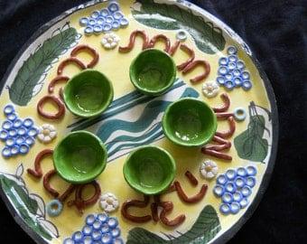 Passover Seder plate ceramic, handmade.