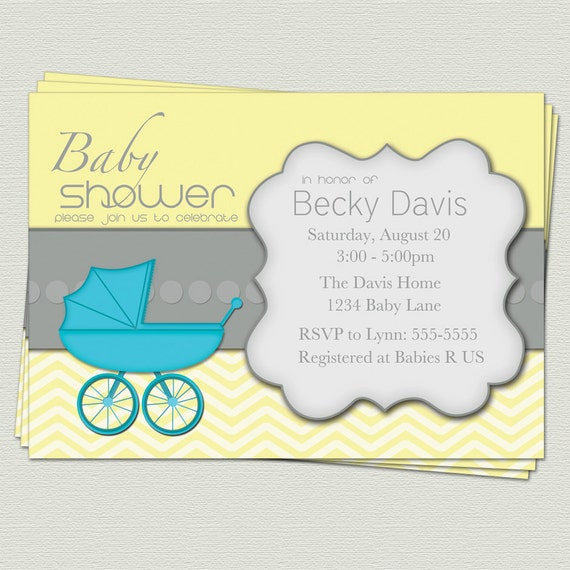 Baby Shower Carriage Invitation Modern Yellow Invite