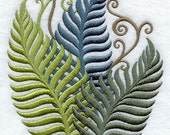 Embroidered Flour Sack Towel / Hand Towel / Quilt Block -Fanciful Ferns Embroidery Design