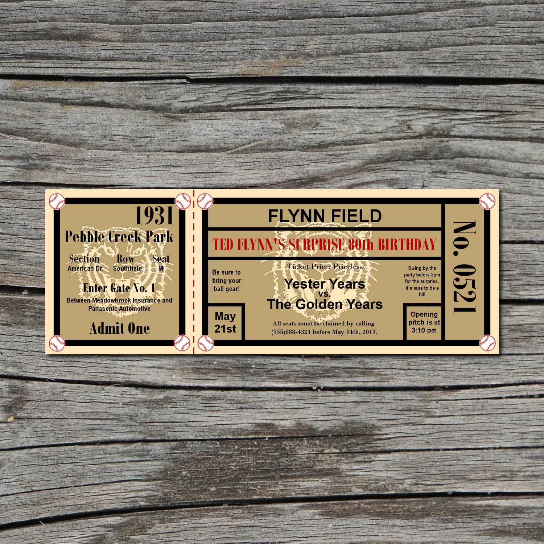 Vintage Baseball Birthday Invitations: Invitation Birthday Vintage Baseball Ticket Printable