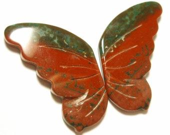 Ocean Jasper Cabochon Pair Butterfly Wings Hand Cut and Carved One of a Kind Perfect for Bead Work or Wire Wrapping
