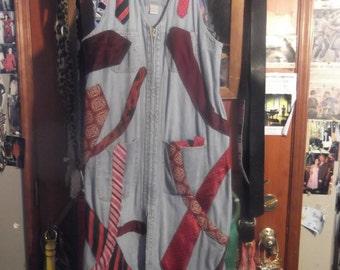 "1970s Style Original ""Tie"" Dress on Denim, ML"