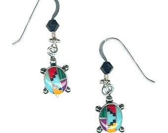 Sterling silver small turtle gemstone inlay earrings