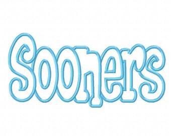 Sooners Embroidery Machine Applique Design 10690