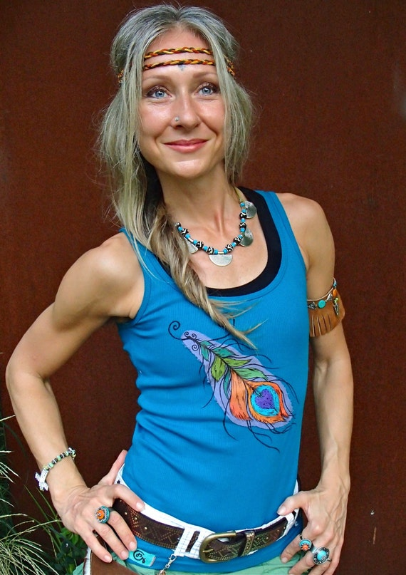 Peacock feather tank top blue tank hand painted clothes boho for Paint on clothes