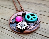 Copper Gear Steampunk Pendant