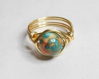 Rainbow Jasper Gemstone Gold Wire Wrapped Ring Sizes 1-14