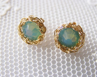 Swarovski Stud Earrings, Teal Stud Earrings, Gold Stud Earrings, Light Teal Earrings, Tiny Stud Earrings