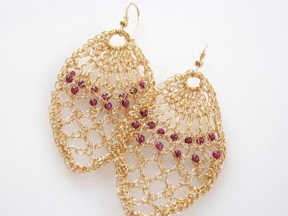 Chandelier Wedding Earrings, Statement Chandelier Earrings, Statement Wedding Earrings, Gold Statement Earrings, Gold Garnet Earrings