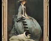 Victorian Lady And Dog Miniature Dollhouse Art Picture 6777