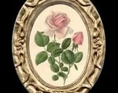 Vintage Pink Rose Miniature Dollhouse Art Picture 6345