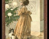 Christmas Girl And Puppy Miniature Dollhouse Art Picture 1660