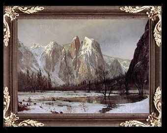 Snow Covered Mountains Miniature Dollhouse Art Picture 6325