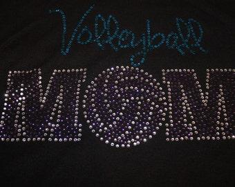 Bling Volleyball Mom Shirt, Volleyball Shirt, Volleyball Tank, Volleyball Bling, Volleyball, Rhinestone Shirt, Sports Shirt, Spirit Shirt