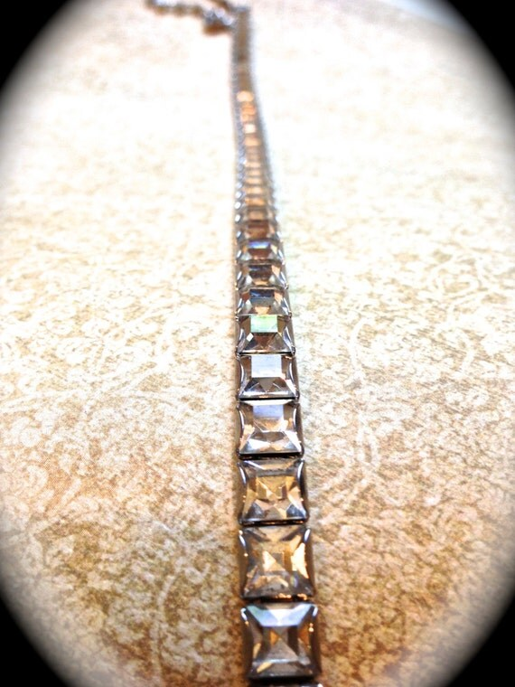 Princess Cut Square Necklace with clear rhinestones,  Art Deco tennis necklace