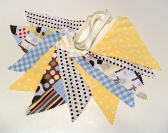 Fabric Banner Babys Room Wall Hanging Infant Photo Prop Pastel Bunting Garland