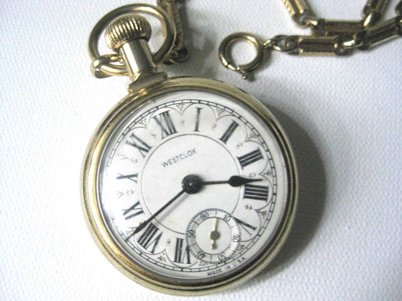 Vintage Westclox Gold Tone Pocket Watch Watch Fob Steam