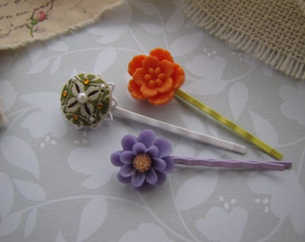 Tinge of Autumn . bobby pins . girls hair accessory . lavender orange yellow white olive