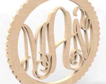 "3 Letter Circle Sculpted Frame Monogram Door or Wall Hanger 14"" tall Custom Made."