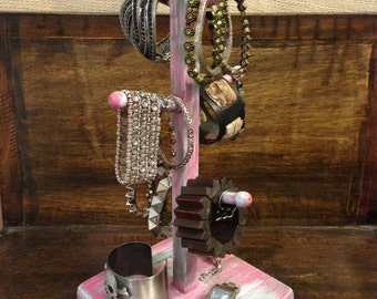 Upcycled Jewelry Organizing Display (Pink/Grey/Aqua/White Stand)
