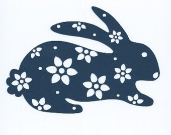 Beautiful floral rabbit silhouette