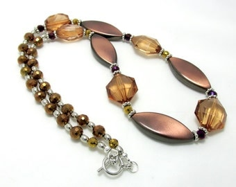 Brown Beaded Necklace - Copper Brown Necklace - Statement Necklace - OOAK - Clearance