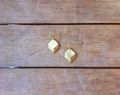Rustic Brass Geometric Drop Earrings / Minimalist Metal Jewelry / Diamond Shaped