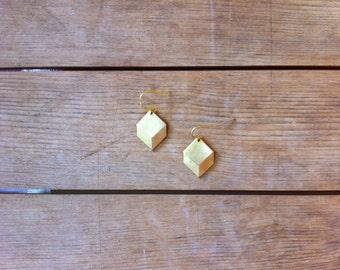 Rustic Brass Geometric Drop Earrings / Minimalist Metal Jewelry / Diamond Shaped
