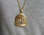 Pendant Necklace BIRDCAGE & Dangling BIRDS unusual goldtone HLM c. B.J 1970s