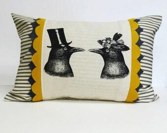 Decorative Ticking Stripe Kidney Pillow with Bird Screen Print and Gray & Yellow Felt Trim