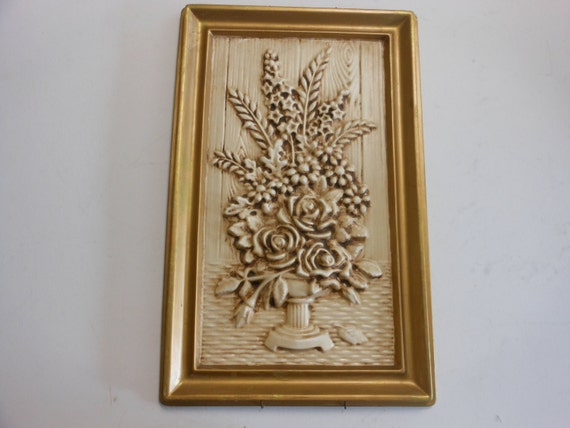 Plaster Art Wall : Vintage wall plaque, Plaster of Paris, Antique boquet of flowers, 9 1 ...
