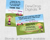 Golf Party Girl Birthday INVITATION and THANK YOU card Personalized Digital Invite you print Golfing Mini Miniature