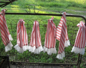 Red Stripe Linen Ruffled Napkins-Red Stripe Linen Tea Towels with Vintage White Linen Finished Ruffle Hem