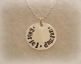 """Sterling Silver 3/4"""" Disc Stamped Name or Names Necklace"""