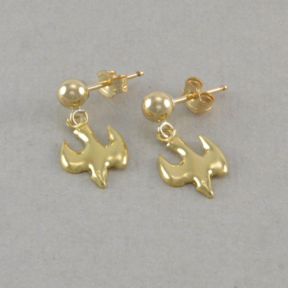 Little Girls Dove Earrings 14K Gold Post By
