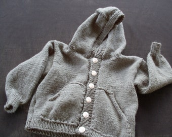 Hand knit boy or girl dove gray hooded cardigan with dolphin buttons and front pockets
