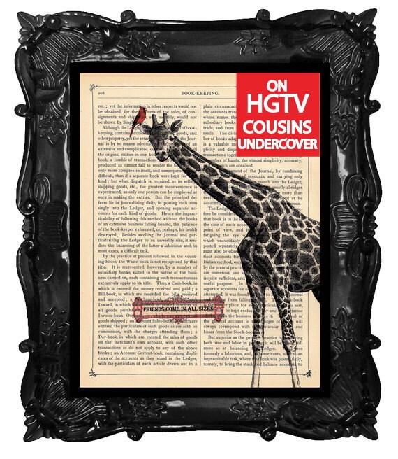 Artistic Giraffe Art Print Giraffe Bird illustration beautifully upcycled dictionary page book art print