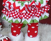 Red and green chevron Christmas winter all around ruffle bloomers diaper cover skirt tutu for baby newborn infant toddle