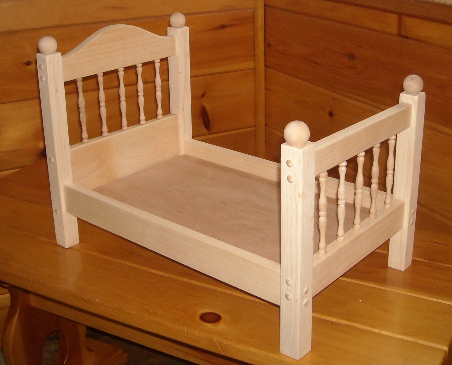 Marvelous photograph of Handmade Spindle Doll Bed for 18 inch doll by admwoodcrafts with #3E1403 color and 1500x1212 pixels