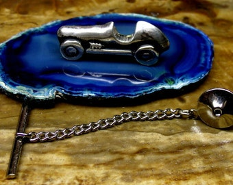 Race Car Tie Tack Sterling Silver Free Shipping