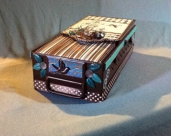 Jewelry File Box with file Cards made from Vintage Library Card Drawer