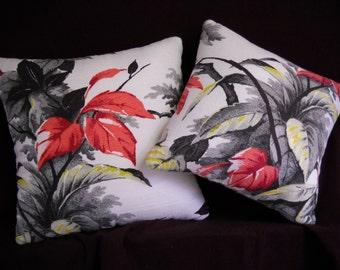 Pair Barkcloth Pillows Tropical Mid Century Vintage