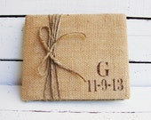 Burlap Wedding Guest Book Personalized with Your Initial and Date. Choose Your Colors