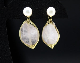 1pair(je-0309rg) - handmade earrings with natural rose quartz,pearl,sterling silver and brass plated gold