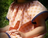Peach and Navy bubble dress. Sizes3T ready to ship