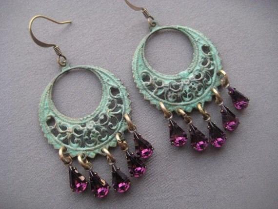 chandelier earrings bohemian earrings by silvertrumpetjewelry