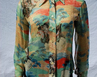 Vintage 70's ELLEN TRACY japonica sheer sexy shirt blouse top sM Japanese print nylon blouse by thekaliman