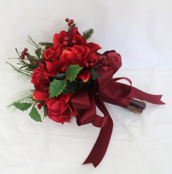 Custom Order for Laura Murphy - Real Touch Red Rose, Amaryllis Bridal Bouquet and Cake Topper
