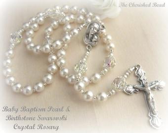 Baby Baptism Pearl & Swarovski Birthstone Crystal Rosary